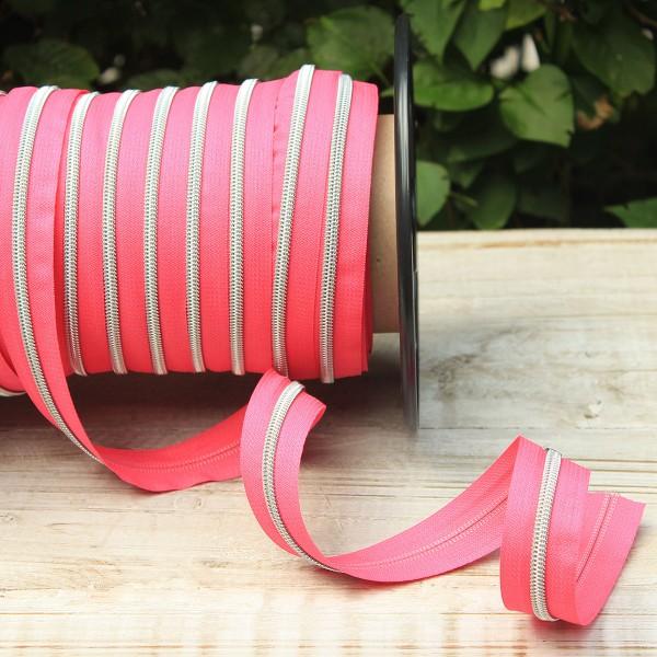 Reißverschluss metallisiert pink/silber