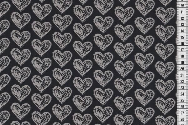 Bio Stretchjersey Hearts schwarz by Janeas World