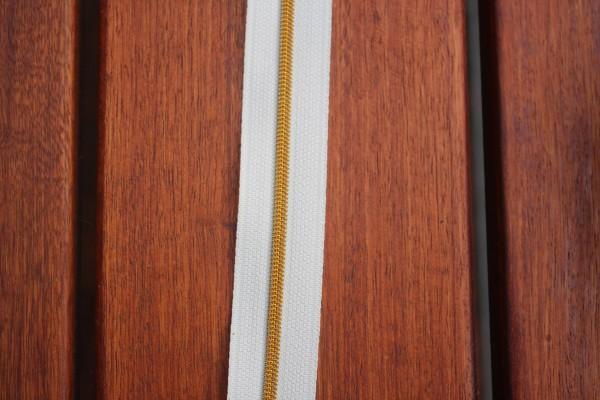 Reißverschluss metallisiert creme/gold schmale Raupe