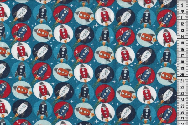 Blast Off by Amy Shaw Blue rockets in circles