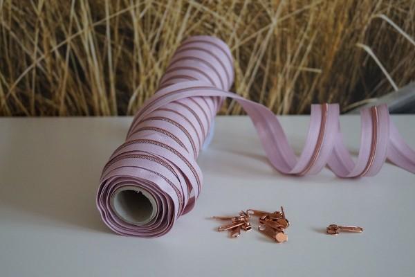 Reißverschluss metallisiert schmal rosa/kupfer