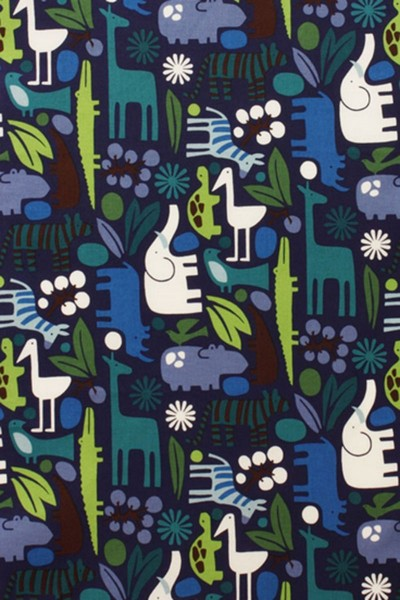 Laminated cotton Alexander Henry Zoo blue