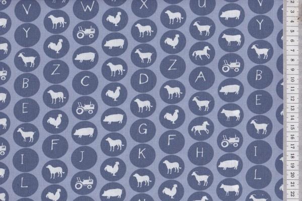 Westfalenstoffe Lönneberga Tier Alphabet blau
