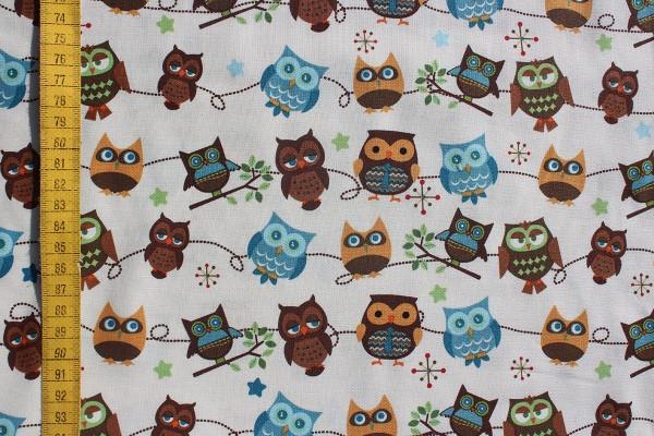 Baumwolldruck Hooty Hoot Owls white