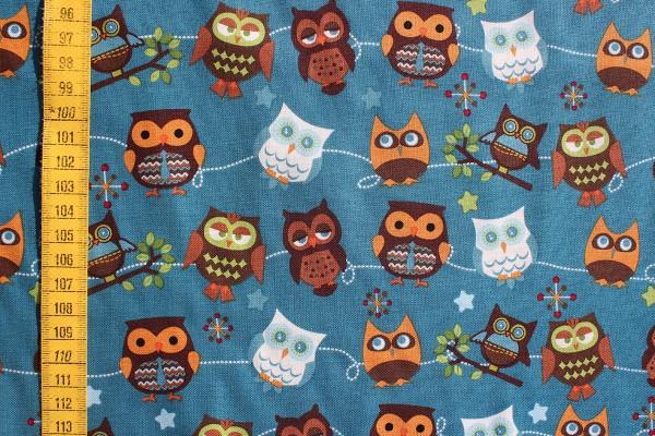Baumwolldruck Hooty Hoot Owls petrol