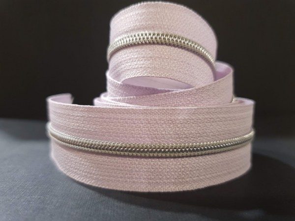 Reißverschluss metallisiert flieder/silber schmale Raupe
