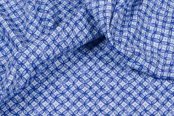Baumwollpopeline Emilie gemustert blau/weiß
