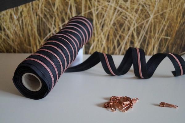 Reißverschluss metallisiert schmal schwarz/kupfer