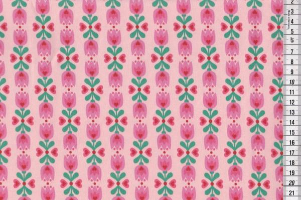 Stretchjersey Millidees Lotta Blume mit Herz rosa