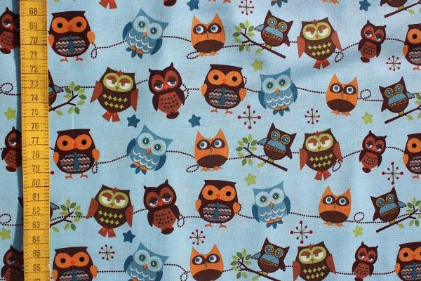 Baumwolldruck Hooty Hoot Owls lightblue
