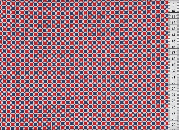 Stretchjersey Retrocircles blau/rot