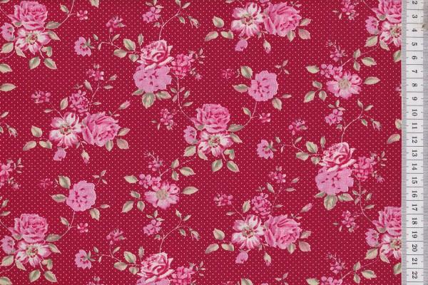 Westfalenstoffe Rosenborg Rosenblüte rot