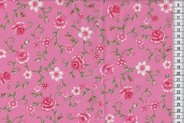 Westfalenstoff Wales Druck Rosenranken pink