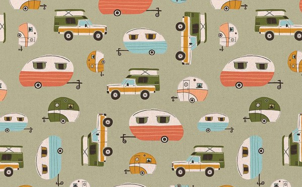 Crissie Rodda Vintage Camping caravans khaki