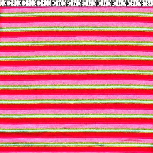 Stretch-Jersey Ringel rot/rosa lime
