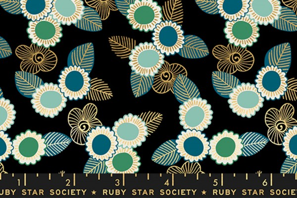 Ruby Star Society Purl by Sarah Watts Embroidered Floral Black