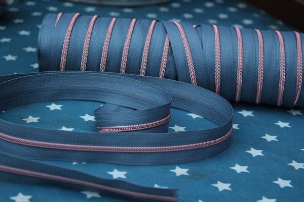 Reißverschluss metallisiert schmal blaugrau/kupfer