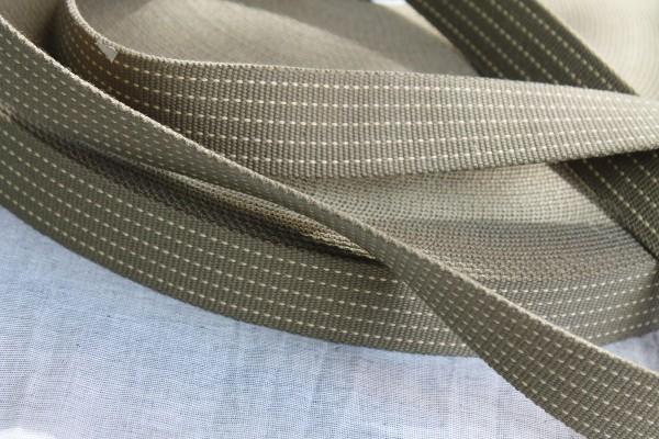 Gurtband 3,5 cm khaki mit gestrichelter Linie