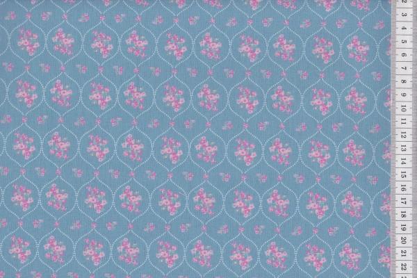 Westfalenstoffe Prinzessin Blumenornament mattblau
