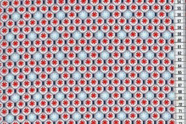 Baumwolldruck sunwheel blau/rot