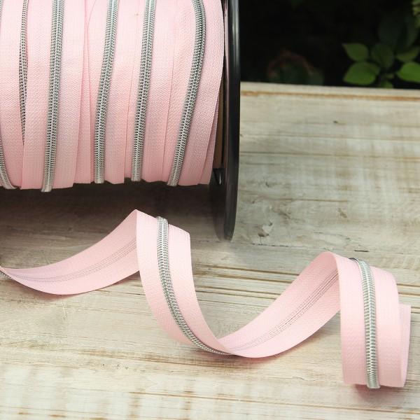 Reißverschluss metallisiert rosa/silber breite Raupe