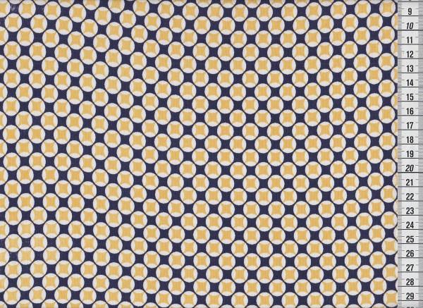 Stretchjersey Retrocircles blau/gelb