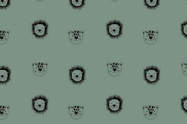 Baumwolldruck Tierköpfe verte