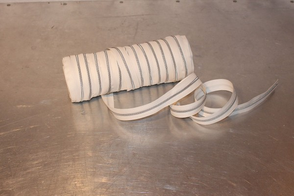 Reißverschluss metallisiert wollweiß/silber schmale Raupe