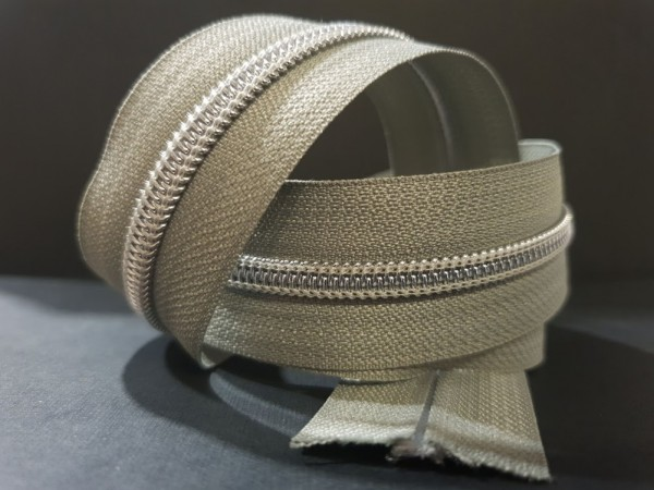 Reißverschluss metallisiert salbei/silber breite Raupe