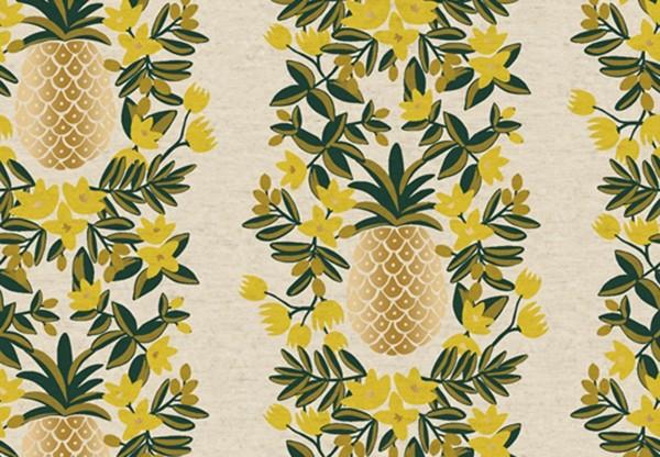 Primavera Rifle Paper Pineapple Stripe Creme Canvas Metallic
