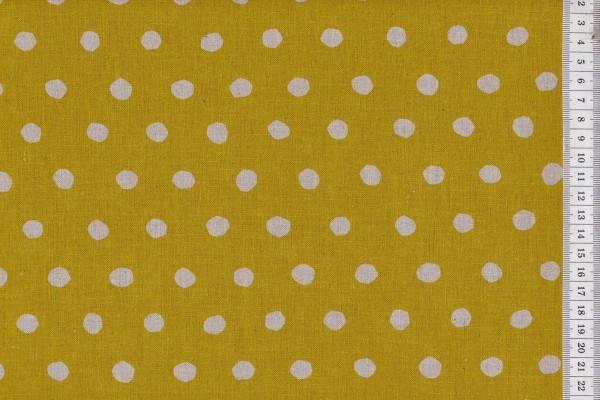 Reststück Wachstuch Echino Dots senf/natur