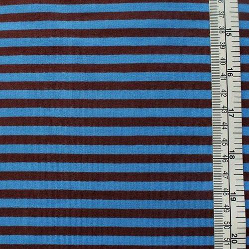 Stretch-Jersey RINGEL braun blau