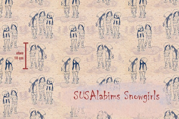Lillestoff Summersweat Susalabims Snowgirls beige-meliert