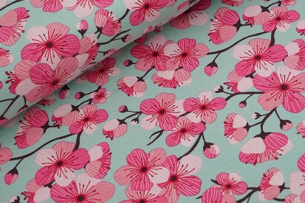 Biojersey Stoffonkel Kirschblüte grün