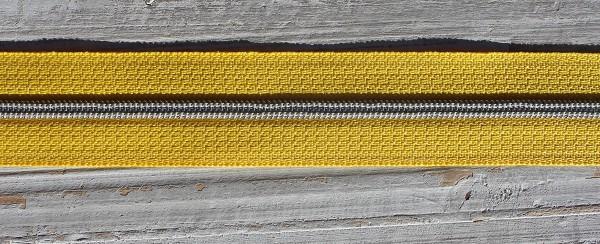 Reißverschluss metallisiert schmale Raupe sonnengelb/silber