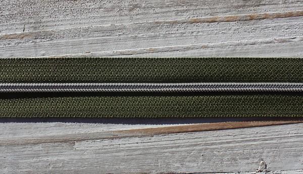 Reißverschluss metallisiert schmale Raupe moosgrün/silber