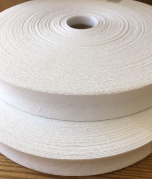Schrägband gefalzt 20 mm weiß