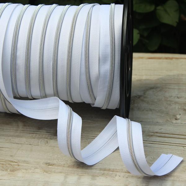 Reißverschluss metallisiert weiß/silber breite Raupe