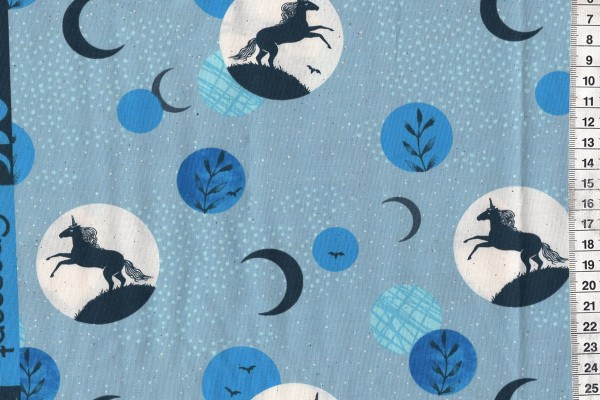 Reststück Ruby Star Society Crescent Soft Blue Unicorn Moon by Sarah Watts