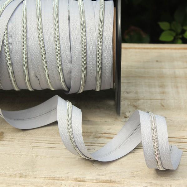 Reißverschluss metallisiert hellgrau/silber breite Raupe
