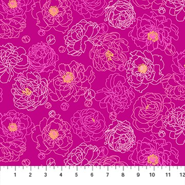 Primavera by Pippa Shaw Peony Outline pink multi