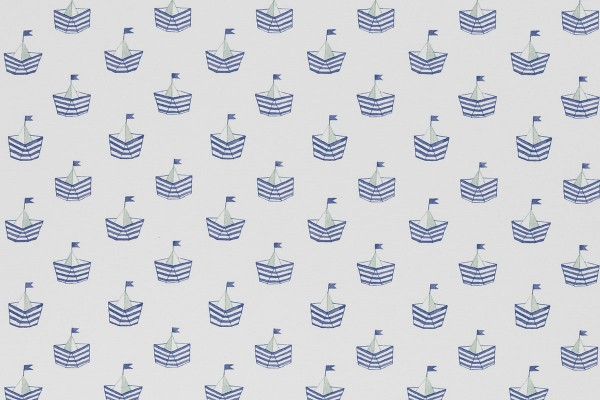 Stretchjersey Nautical Baby Schiffchen blau