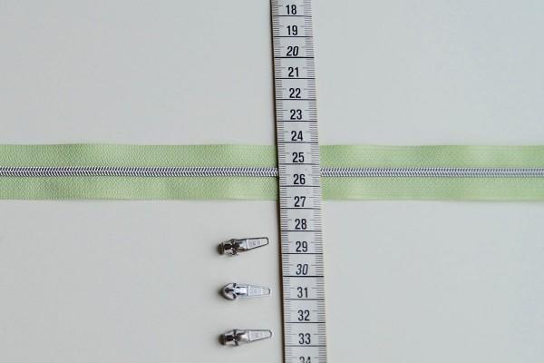 Reißverschluss metallisiert hellgrün/silber