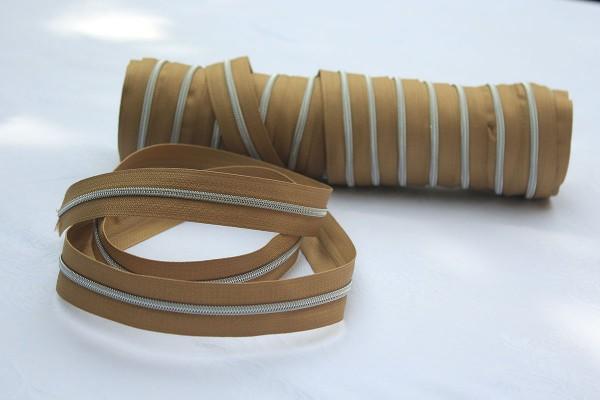 Reißverschluss metallisiert hellbraun/silber