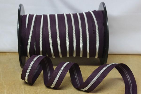 Reißverschluss metallisiert aubergine/silber breite Raupe