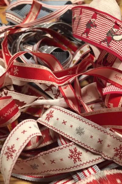 Bandsalat rot/grau weihnachtlich