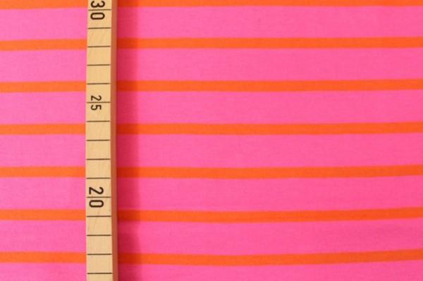 Bio Stretchjersey Streifen neonpink-orange