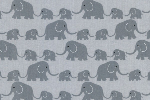 Westfalenstoff Junge Linie Elefantenparade grau