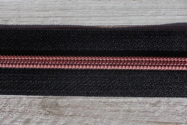 Reißverschluss metallisiert schwarz/kupfer schmale Raupe