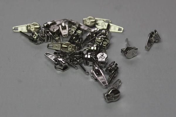 Zipper für metallisierte Reißverschlussmeterware silber schmal